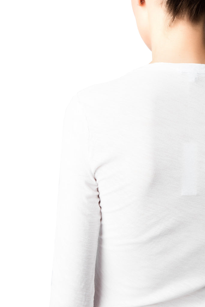 James Perse - White Long Sleeve Crew Tee