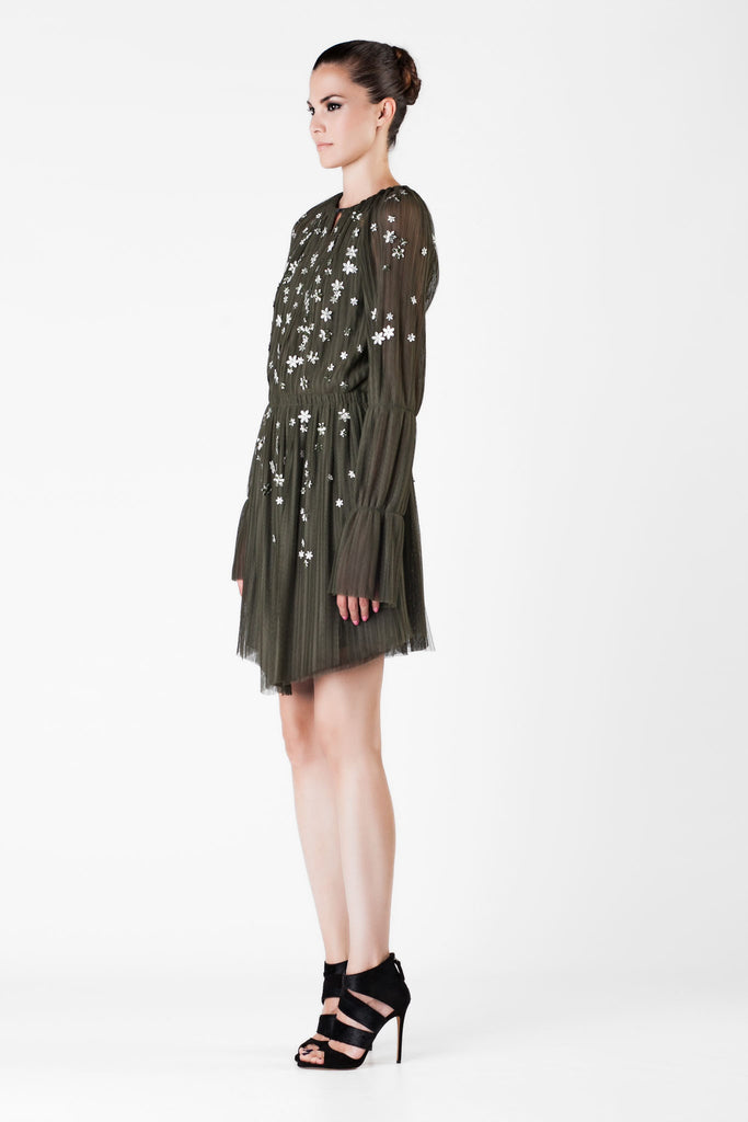 Jay Ahr - Embellished Olive Mini Dress