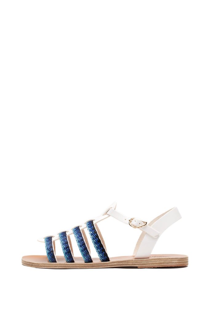Ancient Greek Sandals - Korinna Raffia White and Blue Sandals