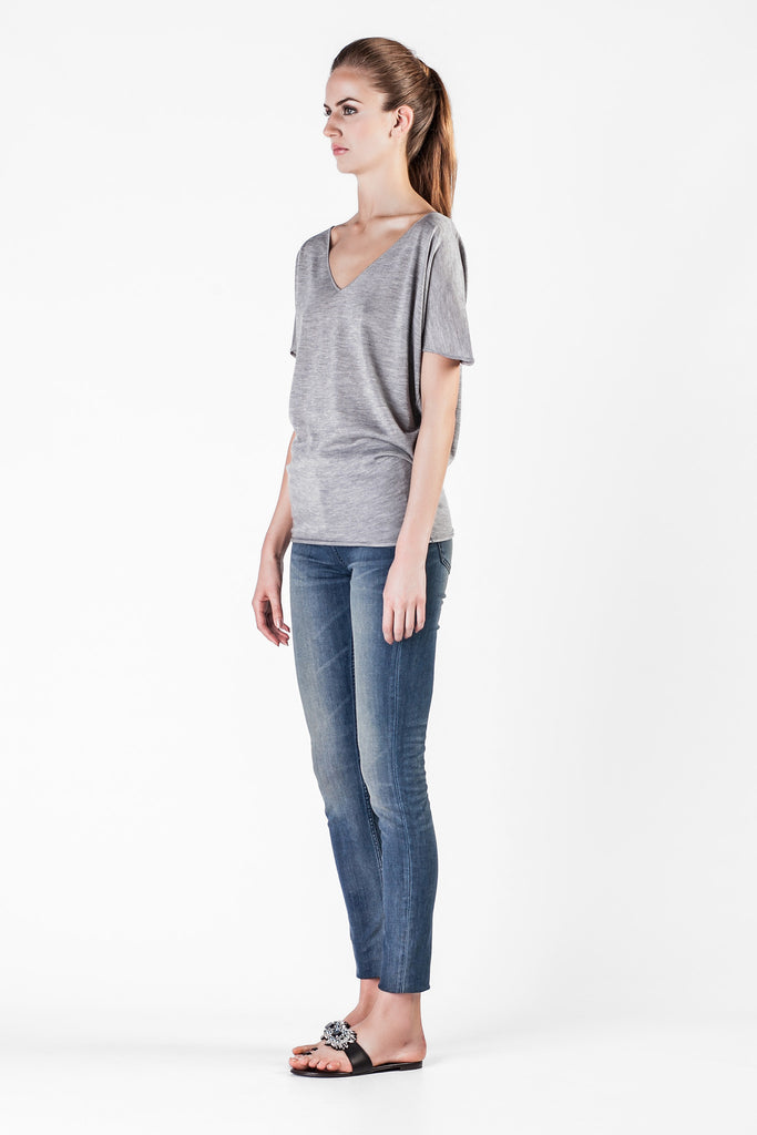 Leetha  - Cashmere and Silk Grey Sweatshirt