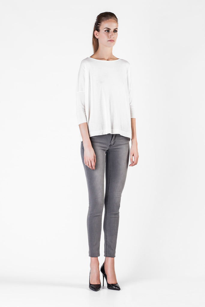 Leetha  - Cashmere and Silk Loose White Sweatshirt