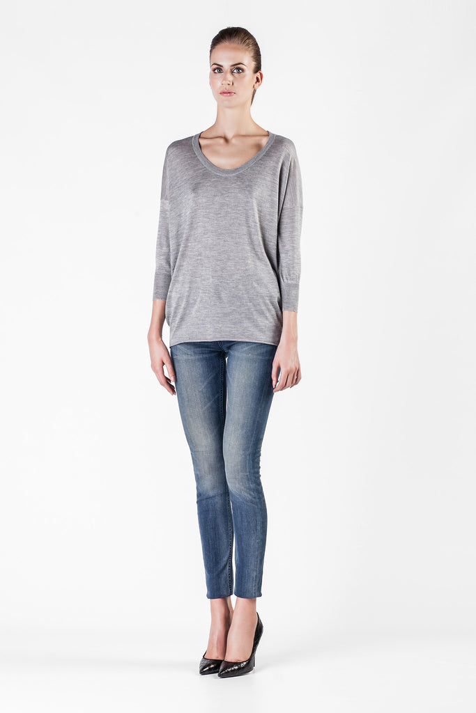 Leetha  - Cashmere and Silk Round Neck Grey Sweatshirt
