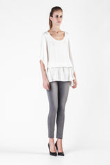Leetha  - Cashmere and Silk White Mini Kaftan