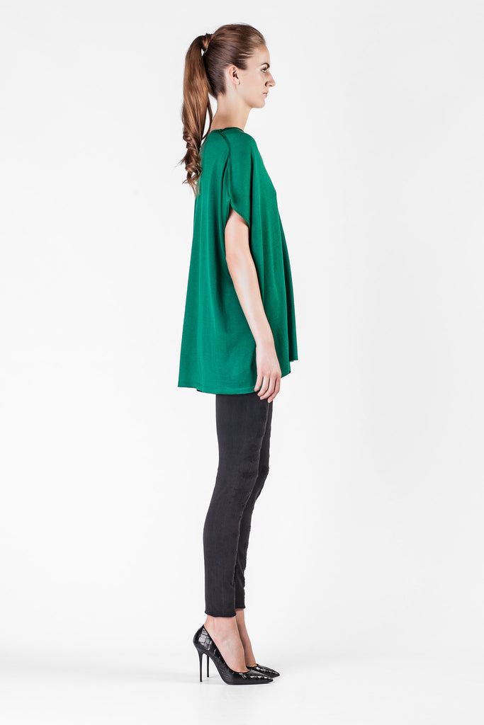Leetha  - Oversize Cashmere and Silk Green Sweatshirt