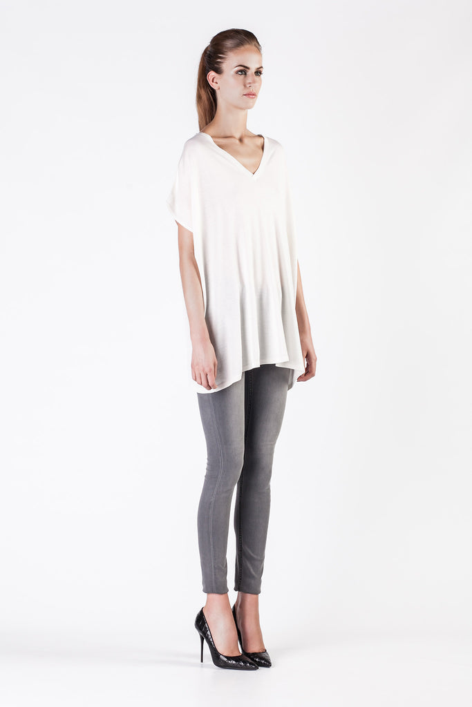 Leetha  - Oversize Cashmere and Silk White Sweatshirt