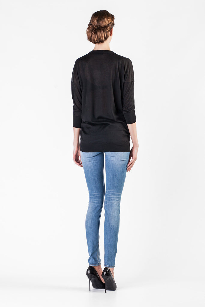 Leetha  - V-Neck Cashmere and Silk Black Sweatshirt