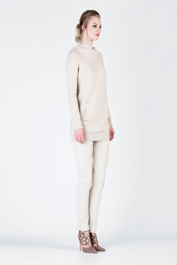 Loro Piana - Beige Knit Cashmere Tunic with Hoodie