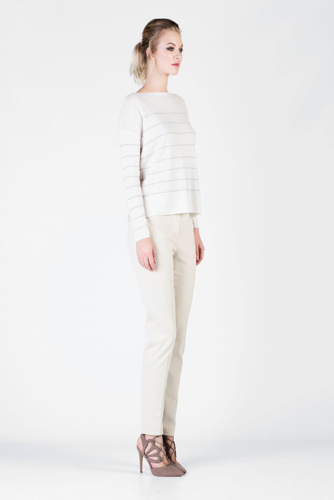 Loro Piana - White  Cashmere and Silk Sweater with Grey Stripes