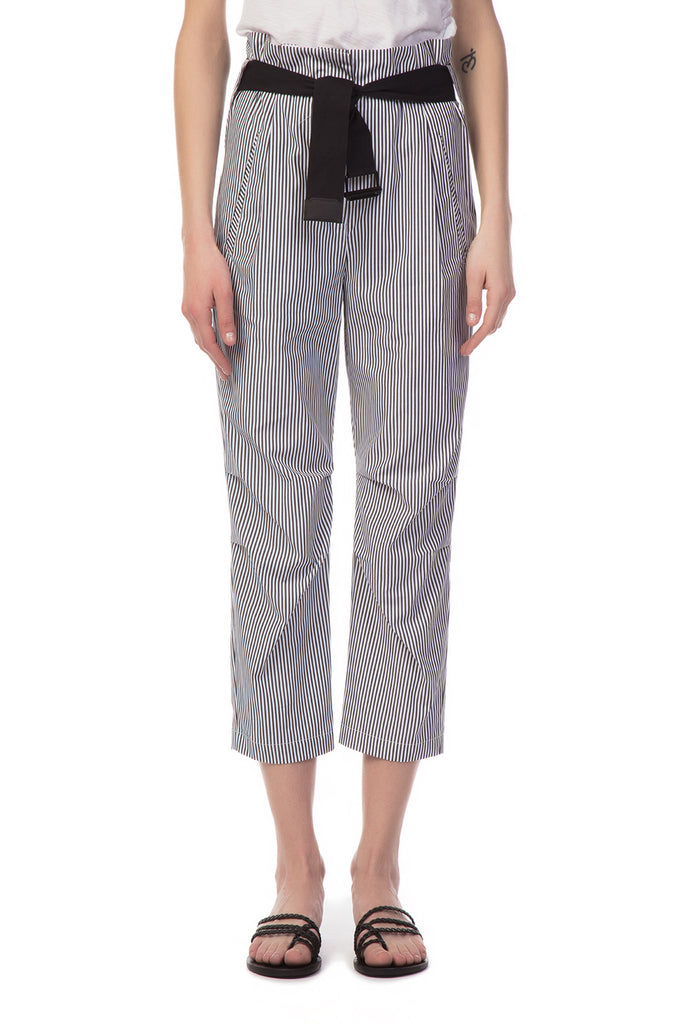 Rag & Bone - White Belted Bosworth Pants with Vertical Stripes