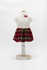 Sissi Sofie - White & Red Plaid Baby White Dress