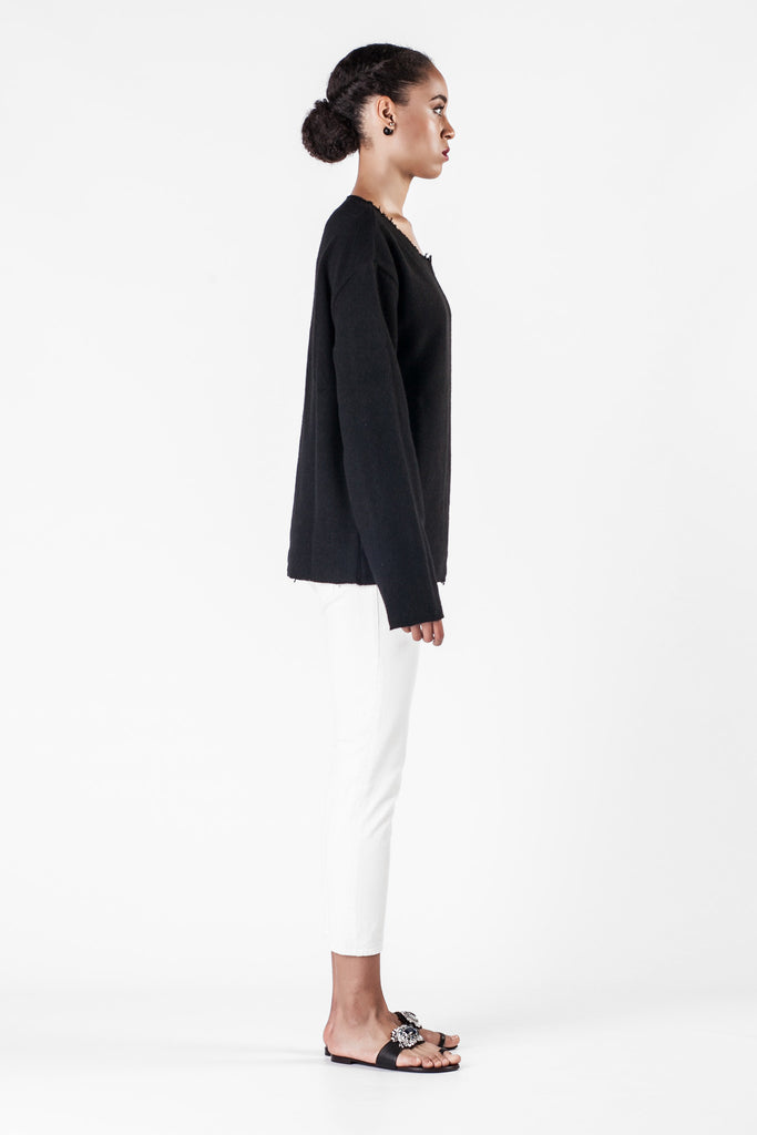 The Elder Statesman - Black Cashmere Sweatshirt