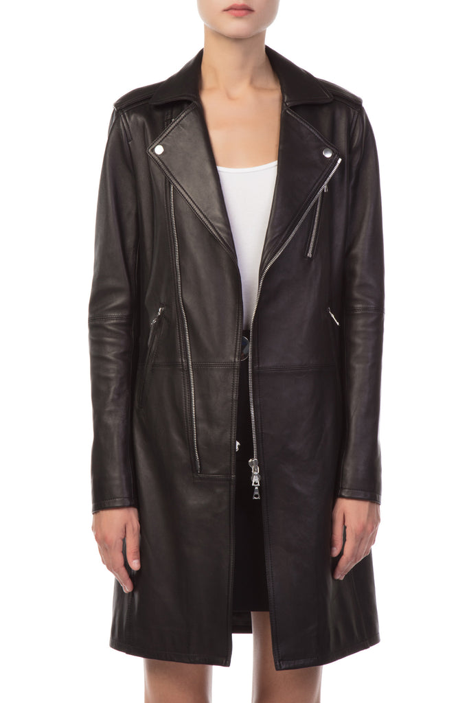 Theory - Black Leather Coat