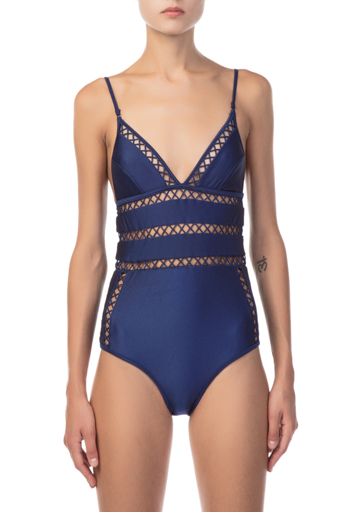 Zimmermann - Paradiso Lattice One Piece Blue Swimsuit