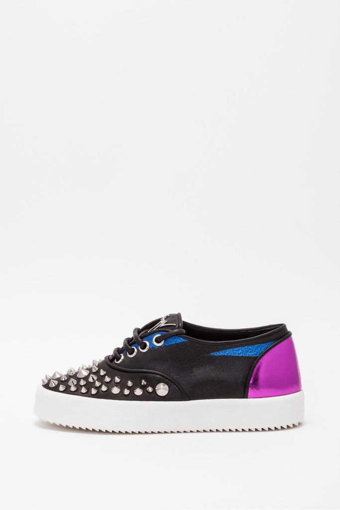 Giuseppe Zanotti - Karen Black Blue and Purple Studded Sneakers