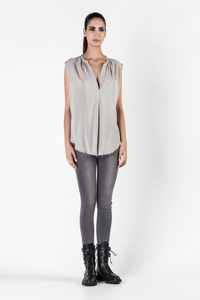 Raquel Allegra - Grey Topaz Shirred Henley