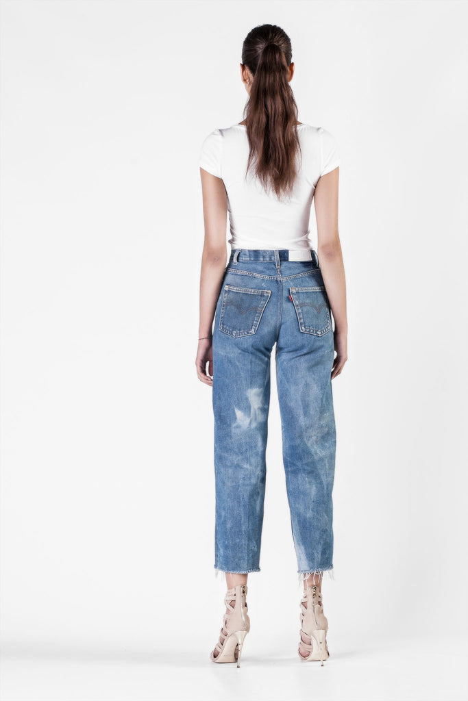 Re/Done - High Rise Wide Leg Crop Jeans