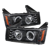 Chevy Colorado 04-12 / GMC Canyon 04-12 Projector Headlights - Halogen Model Only ( Not Compatible With Xenon/HID Model ) - LED Halo - Black - High 9005 (Not Included) - Low H1 (Included)
