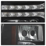 Ford F150 2015-2017 Projector Headlights - High H1 (Included) - Low H7 (Included) - Light Bar DRL LED - Black