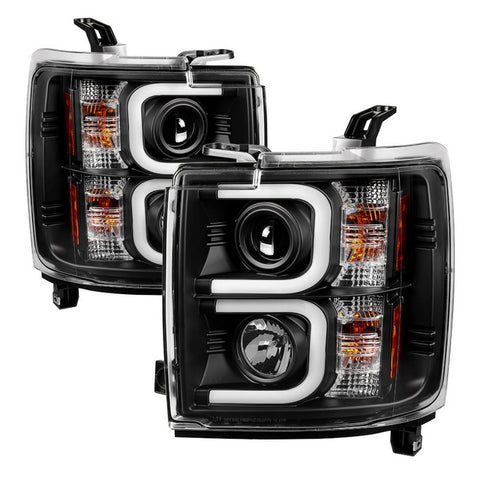 Chevy Silverado 15-16 2500/3500 HD Projector Headlights - Light Bar DRL - Chrome