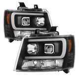 Chevy Suburban 1500/2500 07-14 / Chevy Tahoe 07-14 / Avalanche 07-14 Version 2 Projector Headlights - High H1 (Included) - Low H7 (Included) Light Bar DRL - Chrome