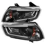 Dodge Charger 11-14 Projector Headlights - Xenon/HID Model Only (Not Compatible With Halogen Model ) - Light Tube DRL - Chrome - High H1 (Included) - Low D3S (Not Included)