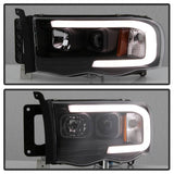 Dodge Ram 1500 02-05 / Ram 2500/3500 03-05 Version 2 Projector Headlights - Light Bar DRL - Chrome