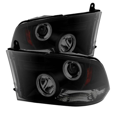 Dodge Ram 1500 94-01 / Ram 2500/3500 94-02 / 99-01 Ram Sport - Projector Headlights - CCFL Halo - LED ( Replaceable LEDs ) - Black Smoke - High 9005 (Included) - Low H1 (Included)