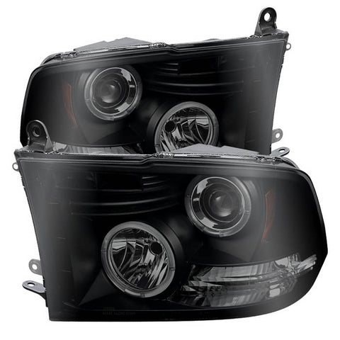 Dodge Ram 1500 94-01 / Ram 2500/3500 94-02 / 99-01 Ram Sport - Projector Headlights - LED Halo - LED ( Replaceable LEDs ) - Black Smoke - High 9005 (Included) - Low H1 (Included)