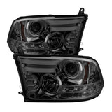( Spyder ) Dodge Ram 1500 09-18 / Ram 2500/3500 10-19 Projector Headlights - Halogen Model Only ( Not Compatible With Factory Projector And LED DRL ) - Light Bar DRL - Smoke - High 9005 (Not Included)- Low H1 (Included)