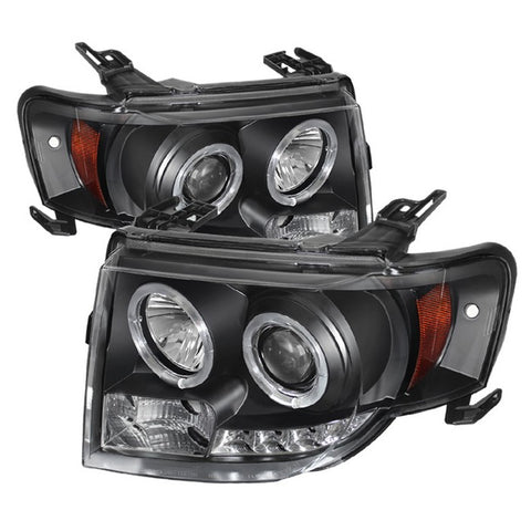 Ford Escape 08-12 Projector Headlights - Halogen Model Only ( Not Compatible With Xenon/HID Model ) - DRL - Chrome - High H1 (Included) - Low H1 (Included)
