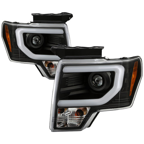 Ford F150 13-14 Projector Headlights - Factory Xenon Model Only ( Not Compatible With Halogen Model ) - Light Bar DRL - Chrome - High/Low D3S (Not Included)