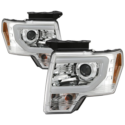 Ford F150 09-14 Projector Headlights - Halogen Model Only ( Not Compatible with Factory Xenon/HID Model ) - Light Bar DRL - Black - High/Low H7 (Included)