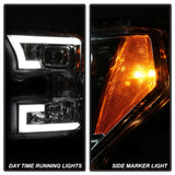 Ford F150 2015-2017 Projector Headlights - High H1 (Included) - Low H7 (Included) - Light Bar DRL LED - Smoke