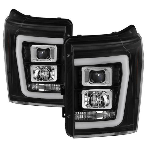 Ford F250/350/450 Super Duty 08-10 Version 2 Projector Headlights - Light Bar DRL - Black