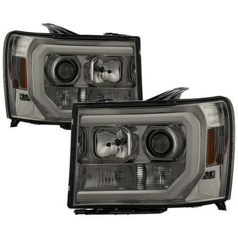 Ford F150 2015-2017 Projector Headlights - High H1 (Included) - Low H7 (Included) - Light Bar DRL LED - Chrome