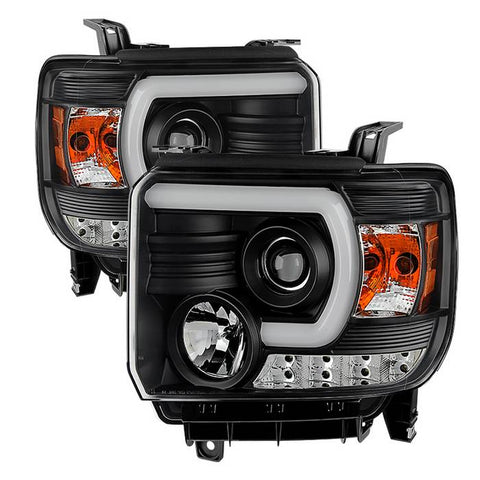 ( Spyder ) GMC Sierra 1500/2500HD/3500HD 14-18 (compatible on models w/factory LED Daytime Running Light Only) Projector Headlights - Light Bar DRL - Chrome