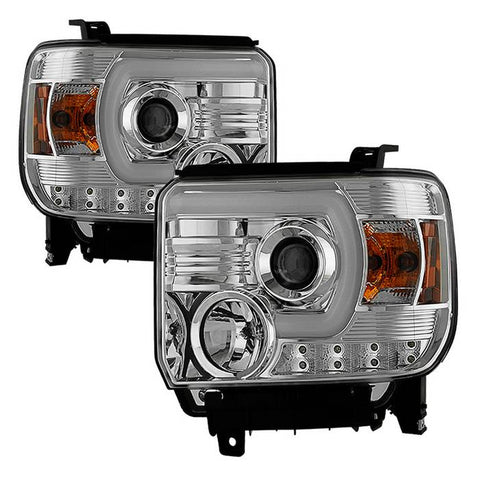 ( Spyder ) GMC Sierra 1500/2500HD/3500HD 14-18 (compatible on models w/factory LED Daytime Running Light Only) Projector Headlights - Light Bar DRL - Smoke