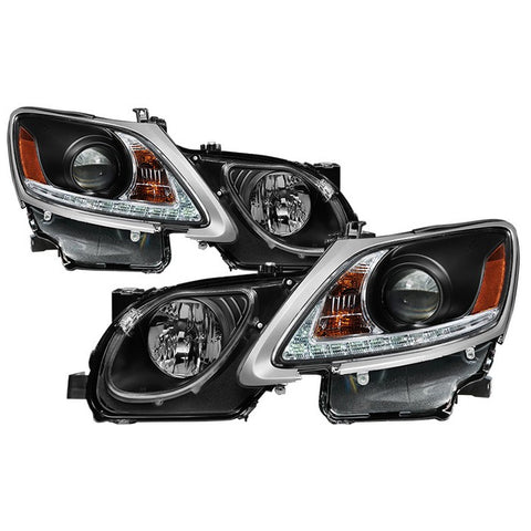 Lexus GS 300 / 350 / 450 / 460 2006-2011 Projector Headlights - Xenon/HID Model Only ( Not Compatible With Halogen Model ) - DRL LED - Black