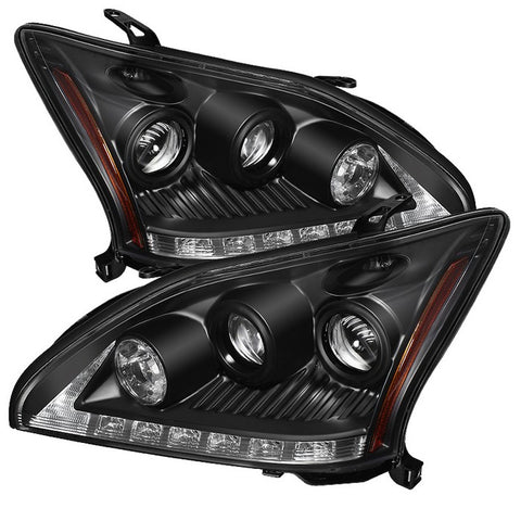 Nissan Altima 4Dr 2010-2012 Projector Headlights - Light Tube DRL - High H1 (Included) - Low H1 (Included) LED Halo - Black
