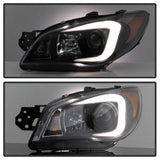 Subaru Impreza WRX 2008-2014 Projector Headlights - Xenon/HID Model Only ( Not Compatible With Halogen Model ) - Light Bar DRL - Black