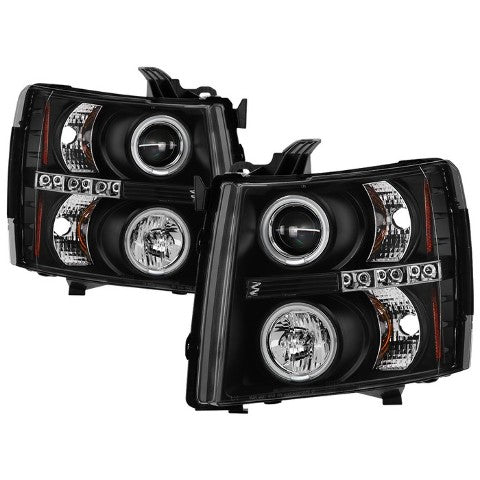 Chevy Silverado 1500 07-13 2500HD/3500HD 07-14 Projector Headlights - CCFL Halo - LED ( Replaceable LEDs ) - Black - High H1 (Included) - Low H1 (Included)