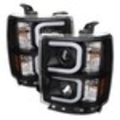 Chevy Silverado 1500 14-15 Projector Headlights - Light Bar DRL - Black - High H1 (Included) - Low H7 (Included)