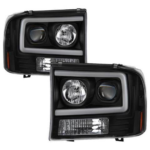 Ford F250/350/450 Super Duty 05-07 Light Bar Projector Headlights - Black