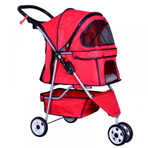Brand New Pet Stroller Travel Folding Carrier (Dog, Cat, 3 Wheels, Cage, Safety, High Quality) - Exotic Blings