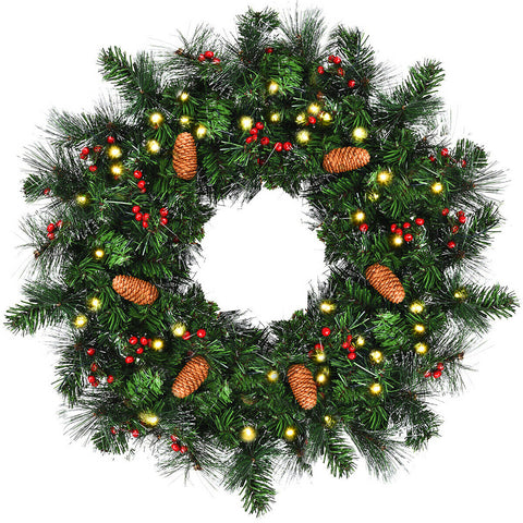 Premium 24 Pre-Lit Artificial Spruce Christmas Wreath Pinecone with Red Berries and Timer T138