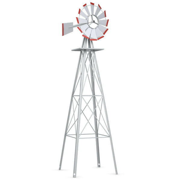 8 FT Tall Garden Windmill with Rotating Wheels (All Weather)