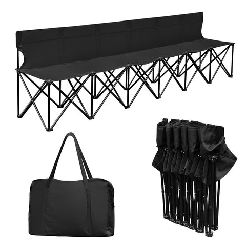 Exotic 6 Seats Portable Folding Chair Bench W/Carry Bag