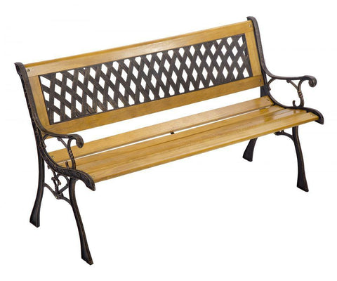 Premium Garden Hardwood Cast Iron Bench (Patio, Backyard, Outdoor, Deck, Seat, High Quality) NEW - Exotic Blings