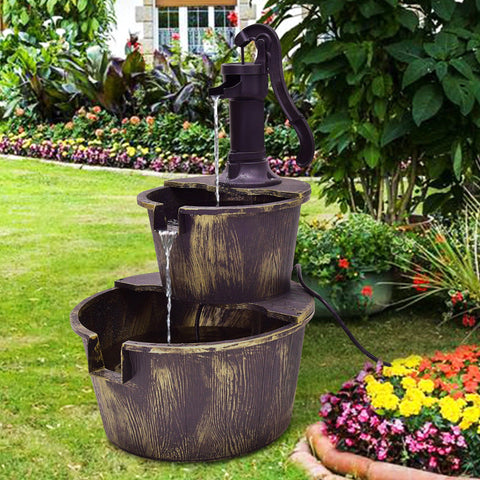 2 Tier Large Barrel Waterfall Fountain with Pump