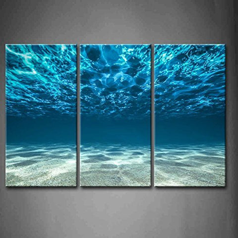 3 Panel Elegant Blue Ocean Print Artwork  on Canvas